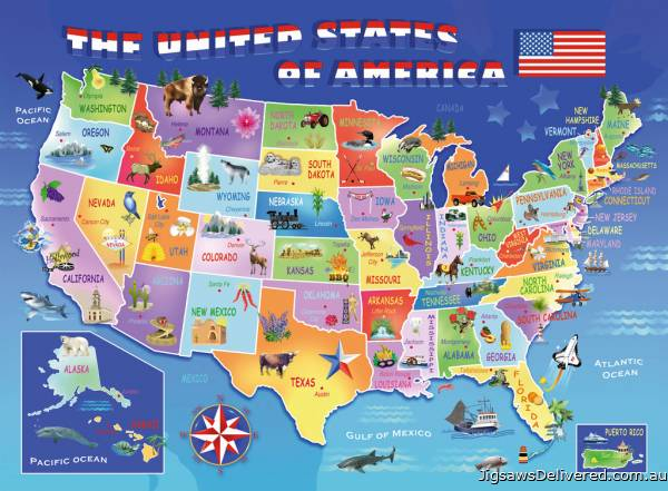 USA State Map (RB10936-4), a 100 piece jigsaw puzzle by Ravensburger.