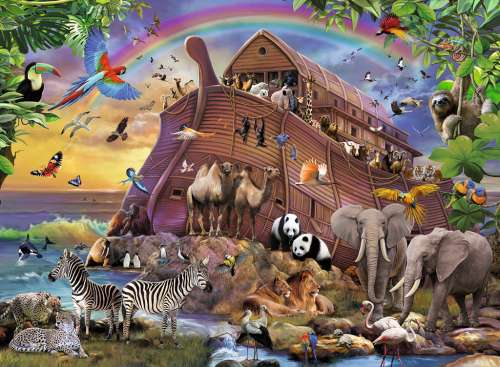 Boarding The Ark (RB10038-5), a 150 piece jigsaw puzzle by Ravensburger. Click to view larger image.