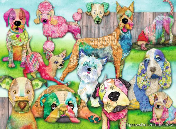 Patchwork Pups (RB10041-5), a 150 piece jigsaw puzzle by Ravensburger.
