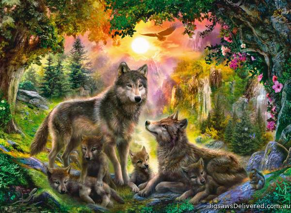Wolf Family In The Sun (200pc) (RB12686-6), a 200 piece jigsaw puzzle by Ravensburger.