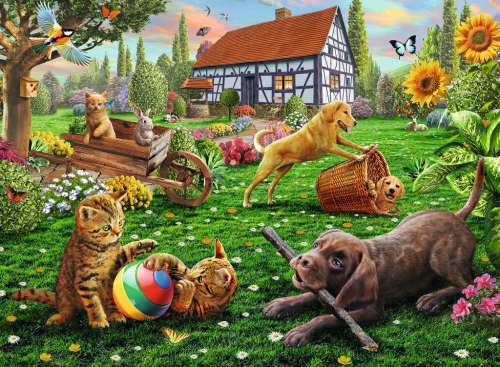 Playing In The Yard (RB12828-0), a 200 piece jigsaw puzzle by Ravensburger. Click to view larger image.