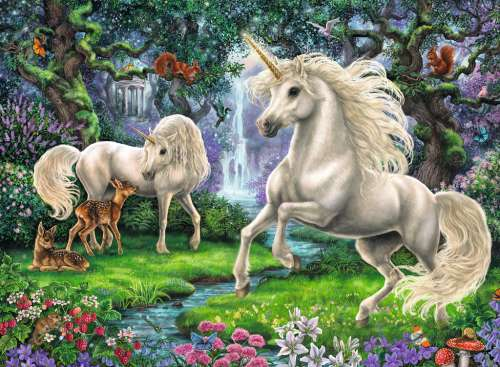 Mystical Unicorns (RB12838-9), a 200 piece jigsaw puzzle by Ravensburger. Click to view larger image.