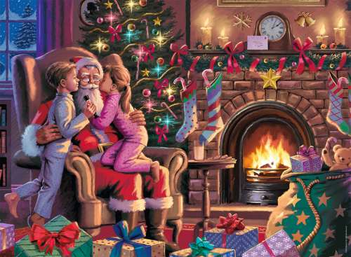Kissing Santa (RB13217-1), a 300 piece jigsaw puzzle by Ravensburger. Click to view larger image.