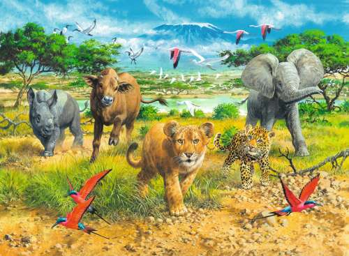 African Animal Babies (RB13219-5), a 300 piece jigsaw puzzle by Ravensburger. Click to view larger image.