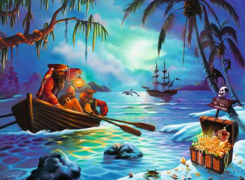 Pirates Moonlit Mission (RB13232-4), a 300 piece jigsaw puzzle by Ravensburger. Click to view larger image.