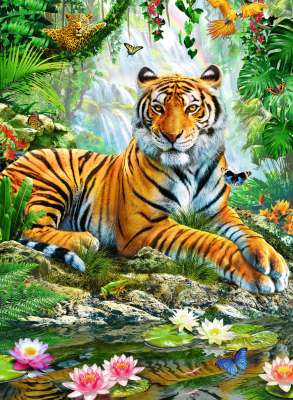 Tiger In The Jungle (RB14742-7), a 500 piece jigsaw puzzle by Ravensburger. Click to view larger image.