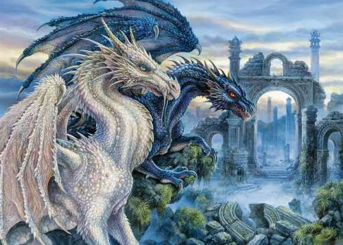 Mystical Dragon (RB19638-8), a 1000 piece jigsaw puzzle by Ravensburger. Click to view larger image.