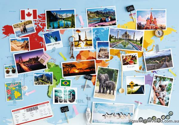 World Travel Memories (RB19643-2), a 1000 piece jigsaw puzzle by Ravensburger.