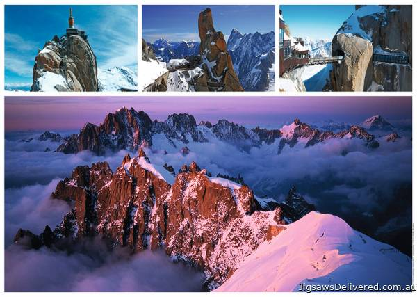 Views Of Mont Blanc (RB19671-5), a 1000 piece jigsaw puzzle by Ravensburger.