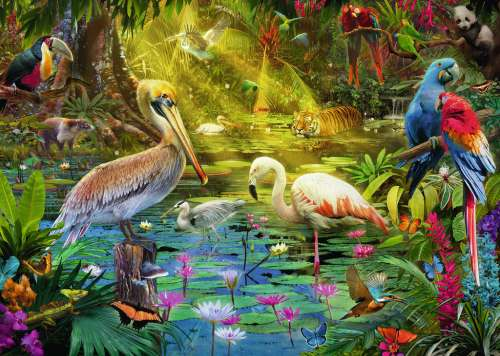Bird Paradise (RB19673-9), a 1000 piece jigsaw puzzle by Ravensburger. Click to view larger image.