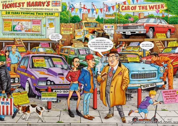 Used Car Lot (RB19692-0), a 1000 piece jigsaw puzzle by Ravensburger.