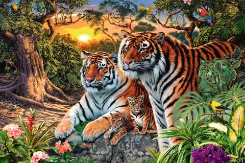 Hidden Tigers (RB17072-2), a 3000 piece jigsaw puzzle by Ravensburger. Click to view larger image.