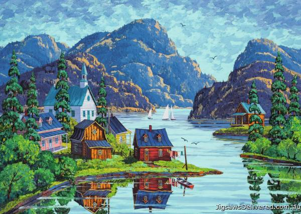 The Saguenay Fjord, Canada (RB19542-8), a 1000 piece jigsaw puzzle by Ravensburger.