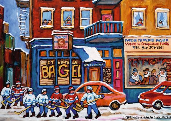 St Viateur Bagel Hockey (RB19534-3), a 1000 piece jigsaw puzzle by Ravensburger.