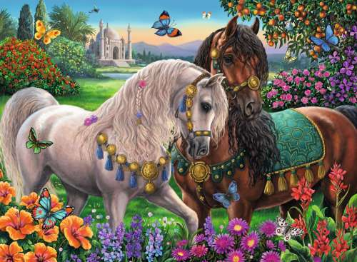 Adorned Stallions (Brilliant edition) (RB14911-7), a 500 piece jigsaw puzzle by Ravensburger. Click to view larger image.