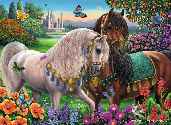 Adorned Stallions (Brilliant edition) (RB14911-7), a 500 piece jigsaw puzzle by Ravensburger.