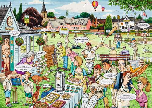 The Cricket Match (RB19469-8), a 1000 piece jigsaw puzzle by Ravensburger. Click to view larger image.