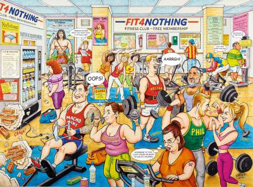 Fit 4 Nothing Gym (RB14699-4), a 500 piece jigsaw puzzle by Ravensburger. Click to view larger image.