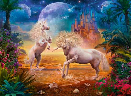 Magical Unicorns (RB14743-4), a 500 piece jigsaw puzzle by Ravensburger. Click to view larger image.