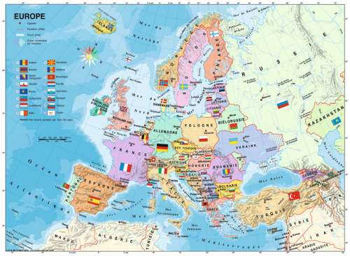 European Map (RB12841-9), a 200 piece jigsaw puzzle by Ravensburger. Click to view larger image.