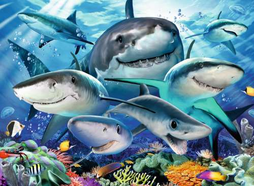 Smiling Sharks (RB13225-6), a 300 piece jigsaw puzzle by Ravensburger. Click to view larger image.