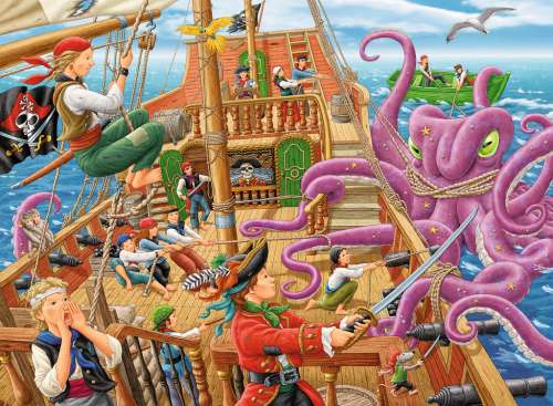 Pirate Boat Adventure (RB10939-5), a 100 piece jigsaw puzzle by Ravensburger. Click to view larger image.