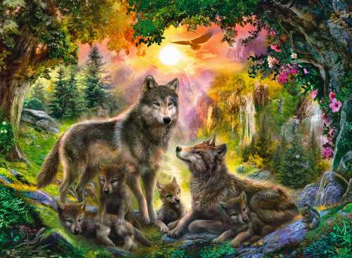Wolf Family in Sunshine (RB14745-8), a 500 piece jigsaw puzzle by Ravensburger. Click to view larger image.