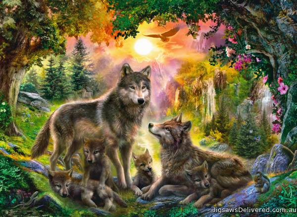 Wolf Family in Sunshine (RB14745-8), a 500 piece jigsaw puzzle by Ravensburger.