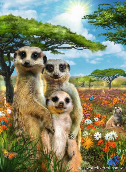 Happy Meerkats (RB14744-1), a 500 piece jigsaw puzzle by Ravensburger.
