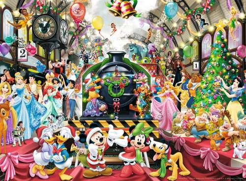 Disney Christmas Train (RB14739-7), a 500 piece jigsaw puzzle by Ravensburger. Click to view larger image.