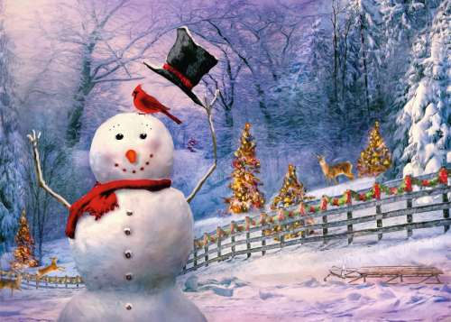 The Magical Snowman (Large Pieces) (RB13585-1), a 300 piece jigsaw puzzle by Ravensburger. Click to view larger image.