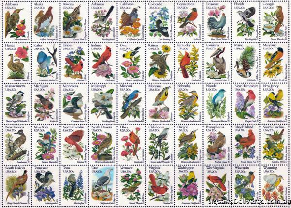 50 Bird Stamps (Large Pieces) (RB13224-9), a 300 piece jigsaw puzzle by Ravensburger.