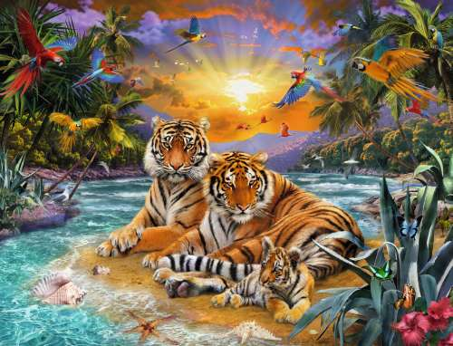 Tigers At Sunset (RB16624-4), a 2000 piece jigsaw puzzle by Ravensburger. Click to view larger image.