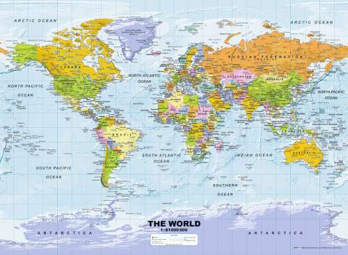 Political World Map (RB14755-7), a 500 piece jigsaw puzzle by Ravensburger. Click to view larger image.