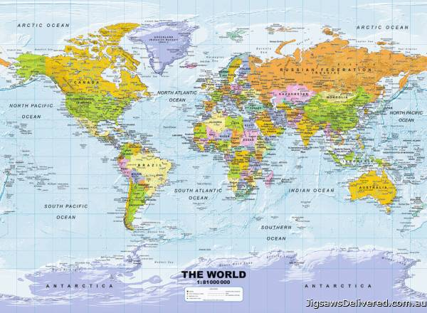 Political World Map (RB14755-7), a 500 piece jigsaw puzzle by Ravensburger.