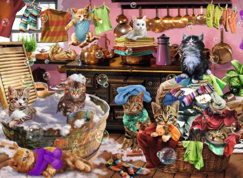 Cat In The Kitchen (RB10031-6), a 150 piece jigsaw puzzle by Ravensburger. Click to view larger image.