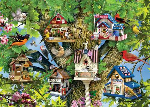 Bird Village (RB19691-3), a 1000 piece jigsaw puzzle by Ravensburger. Click to view larger image.