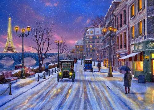 Winter In Paris (RB14741-0), a 500 piece jigsaw puzzle by Ravensburger. Click to view larger image.