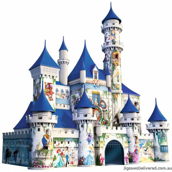 Disney Castle (3D Puzzle) (RB12510-4), a 216 piece jigsaw puzzle by Ravensburger.