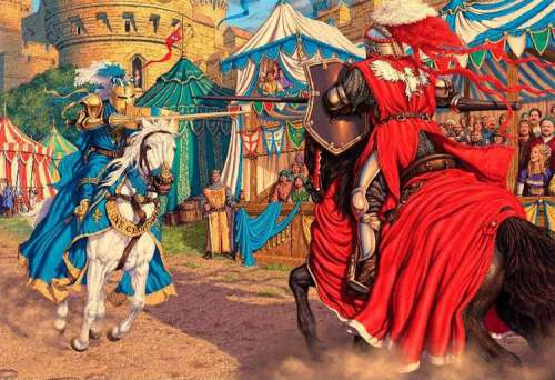 Jousting Knights (HOL098972), a 300 piece jigsaw puzzle by Holdson. Click to view larger image.
