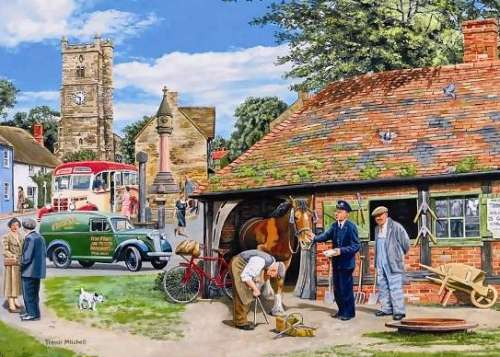 The Farrier (The Village) (HOL098330), a 1000 piece jigsaw puzzle by Holdson. Click to view larger image.