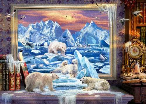 Arctic Ice Bears (HOL098392), a 1000 piece jigsaw puzzle by Holdson. Click to view larger image.