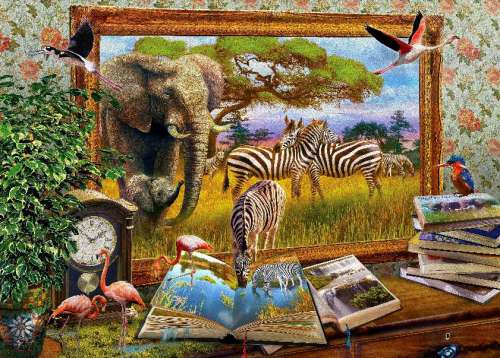 Zebra Waterhole (HOL098422), a 1000 piece jigsaw puzzle by Holdson. Click to view larger image.