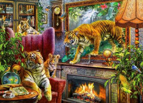 Tigers are Coming (HOL098415), a 1000 piece jigsaw puzzle by Holdson. Click to view larger image.