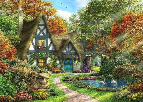 Autumn Cottage (HOL098354), a 1000 piece jigsaw puzzle by Holdson. Click to view larger image.