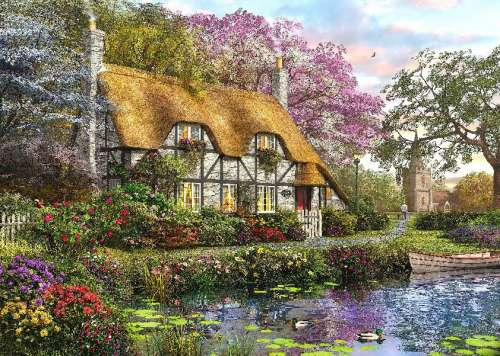 White Stone Cottage (HOL098385), a 1000 piece jigsaw puzzle by Holdson. Click to view larger image.