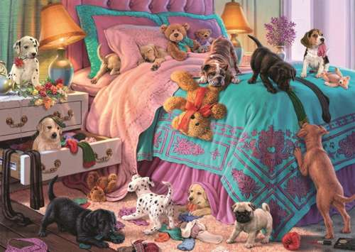 Mischievous Puppies (Large Pieces) (JUM11138), a 200 piece jigsaw puzzle by Jumbo. Click to view larger image.