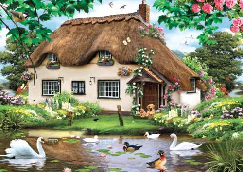 Swan Cottage (JUM11014), a 500 piece jigsaw puzzle by Jumbo. Click to view larger image.