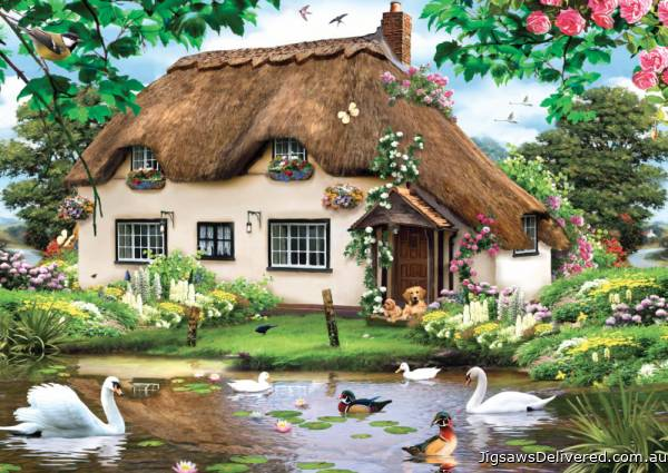Swan Cottage (JUM11014), a 500 piece jigsaw puzzle by Jumbo.