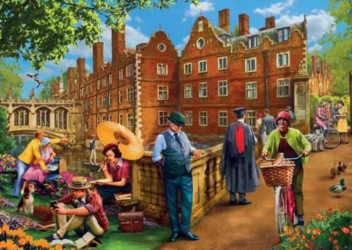 Afternoon in Cambridge (JUM11129), a 1000 piece jigsaw puzzle by Jumbo. Click to view larger image.